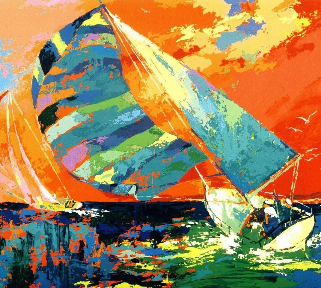 Leroy Neiman Orange Sky Sailing