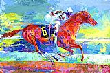 Horse Racing paintings - Funny Cide by Leroy Neiman