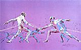 Leroy Neiman Olympic Fencers painting