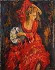 Unknown Artist Flamenco dancer Red dress painting
