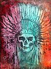 Unknown Artist skull and feathers painting