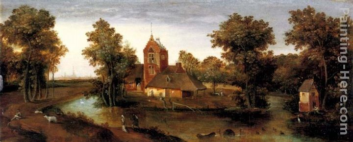 Abel Grimmer A Moated Tower With Farmhouses Painting