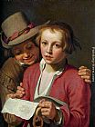 Abraham Bloemaert Two Boys Singing from Sheet of Paper painting
