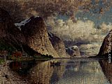 Adelsteen Normann A Cloudy Day On A Fjord painting