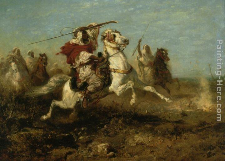 ADOLF SCHREYER HORSEMEN AT A WATERING HOLE Giclee Canvas Print