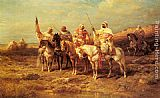 Adolf Schreyer Arab Horsemen by a Watering Hole painting