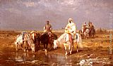Adolf Schreyer Arabs Watering Their Horses painting