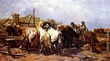 Adolf Schreyer The Watering Place painting