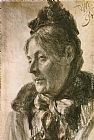 Adolph von Menzel The Head of a Woman painting