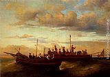 Adolphe Monticelli Italian Fishing Vessels at Dusk painting