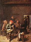 Adriaen Brouwer Peasants Smoking and Drinking painting