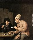 Adriaen van Ostade Piping and Drinking in the Tavern painting