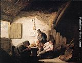 Adriaen van Ostade Village Tavern with Four Figures painting