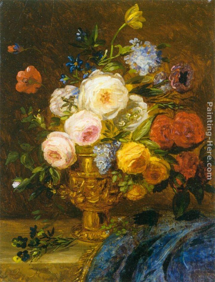 Adriana Johanna Haanen Still Life With Flowers In A Golden Vase