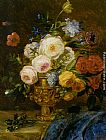 Adriana-Johanna Haanen A Still Life with Flowers in a Golden Vase painting