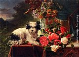 Adriana-Johanna Haanen Camellias And A Terrier On A Console painting
