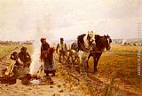 Adrien Moreau Plowing The Fields painting