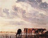 Aelbert Cuyp Cows in a River painting