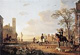 Aelbert Cuyp Landscape with Horse Trainers painting