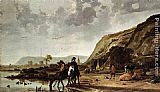 Aelbert Cuyp Large River Landscape with Horsemen painting