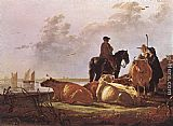 Aelbert Cuyp Peasants with Four Cows by the River Merwede painting