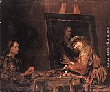 Aert de Gelder Self-Portrait at an Easel Painting an Old Woman painting