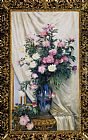 Albert Aublet Peonies in a Blue Vase on a Draped Regency Giltwood Console Table painting