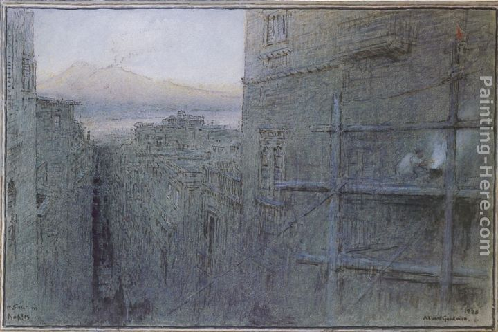 Albert Goodwin A view of Cairo at sunset