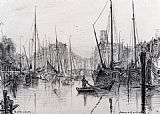 Albert Goodwin Moored Boats In Rotterdam painting
