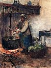 Albert Neuhuys A Cottage Interior With A Peasant Woman Preparing Supper painting