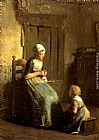 Albert Neuhuys The Knitting Lesson painting