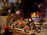 Alexandre-Francois Desportes Still Life Of Grapes, Peaches In A Blue And White Porcelain Bowl And A Melon, Resting On A Stone Stairway painting