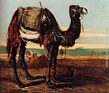 Alexandre-Gabriel Decamps A Bedouin And A Camel Resting In A Desert Landscape painting