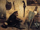 Alexandre-Gabriel Decamps The Monkey Painter painting