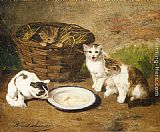 Alfred Brunel de Neuville Kittens by a Bowl of Milk painting