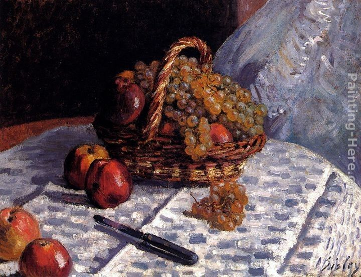Alfred Sisley Still Life Apples And Grapes