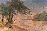 Alfred Wahlberg View Of Kronenberg Castle At Sunset painting
