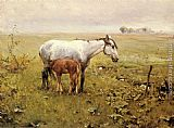 Alfred von Kowalski Wierusz A Mare and her Foal in a Landscape painting