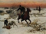 Alfred von Kowalski Wierusz The Hunters painting