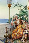 Amedeo Momo Simonetti A Turkish Beauty Resting on a Terrace painting