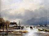 Andreas Schelfhout A Winter Landscape With Skaters On A Frozen Waterway painting