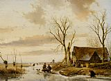 Andreas Schelfhout A Winter Landscape with Skaters on a Frozen River painting