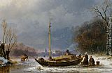Andreas Schelfhout A Wintry Scene with Figures near a Boat on the Ice painting