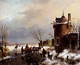 Andreas Schelfhout Figures With A Horse Sledge On The Ice, A Town In The Distance painting