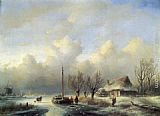 Andreas Schelfhout Figures in a winter landscape painting
