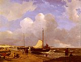 Andreas Schelfhout Moored on the Beach painting