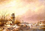 Andreas Schelfhout Skaters On A Frozen River painting