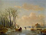 Andreas Schelfhout Skaters on the ice with a Koek En Zopie in the distance painting