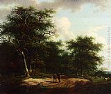 Andreas Schelfhout Two Figures In A Summer Landscape painting