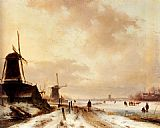Andreas Schelfhout Winter a huntsman passing woodmills on a snowy track, skaters on a frozen river beyond painting